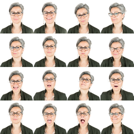 professional senior adult caucasian woman with eyeglasses and white hair collection set of face expression like happy, sad, angry, surprise, yawn isolated on white Stock fotó