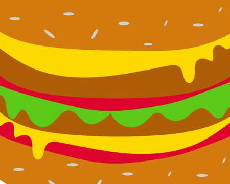 Beef or pork hamburger with cheese, tomato sauce and vegetable background, idea for your design about food. Иллюстрация