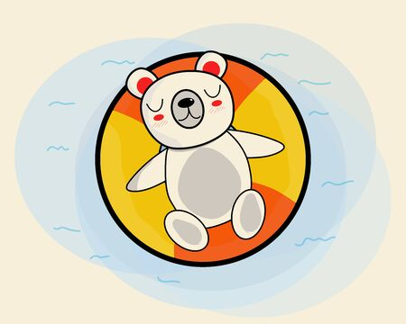 Hand drawing: Cute white bear with smile on float ring in the water, cartoon style. Ilustração