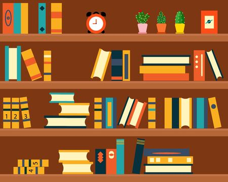 bookshelf background for your design about education concept 向量圖像