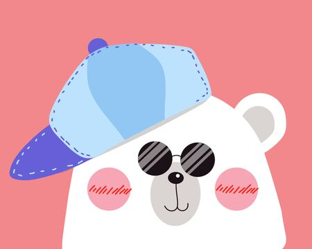 White polar bear is looking to you with happy smile, blue cap and sunglasses on face. Illustration