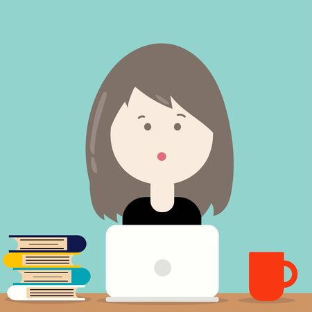 Cute woman character cartoon vector design: A woman or girl has a long hair working at work area, books, laptop and red mug of hot coffee on the table.