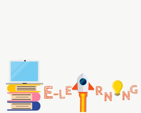 Education concept: There are books, laptop, rocket, bulb and word E-learning for your design about examination, final test or entrance