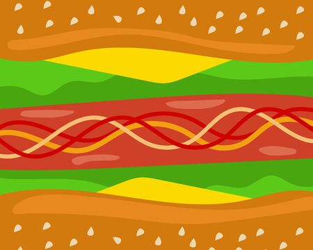 Top view and close up: Beef or pork hot dog with cheese, tomato sauce and vegetable background, idea for your design about food. Cartoon vector design Illustration