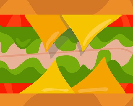Close up: Beef or pork ham and cheese sandwiches with tomato and vegetable background, idea for your design about food. Cartoon vector design Illustration
