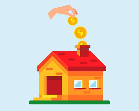A hand puts many golden coins in the house. Saving up for a house, savings on housing. Ilustração