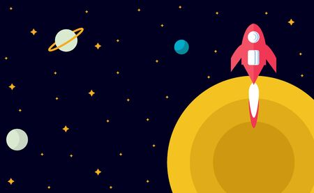 Flat design: space and planet background concept. Cute template with Spaceship, Rocket, Stars in outer space in cartoon style. Ilustração