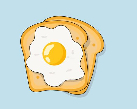 Cute cartoon vector : slices of bread with fried egg for breakfast concept Фото со стока - 132269328