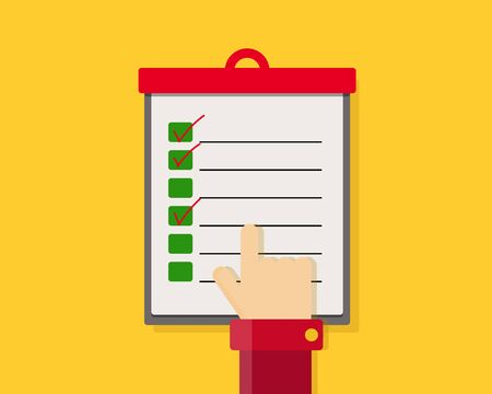 Colorful: Flat check list icon with hand point to the paper. Vector illustration