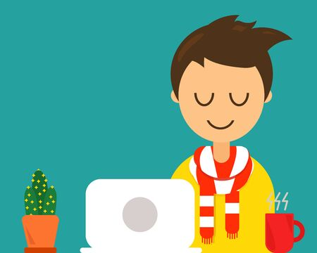 Happy Man Character in Cartoon Style with successful concept. A happy man is sitting on chair at his work area, there are laptop and red cup of hot coffee.