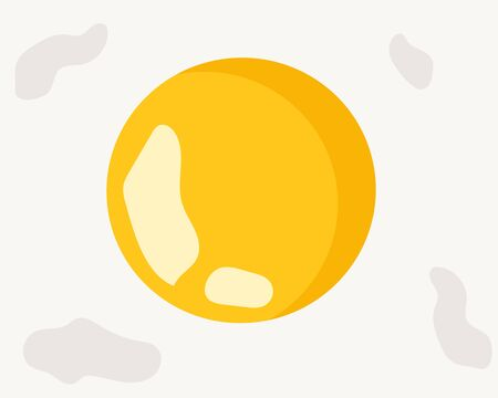 Top view and close up: fried egg with fresh yellow yolk. Cute cartoon vector for your design Фото со стока - 132269344