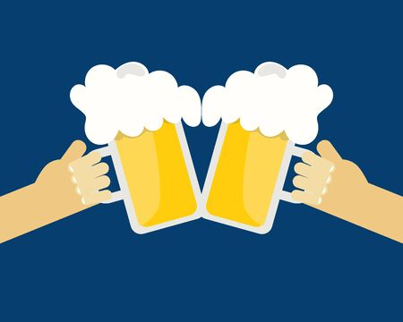 Beer festival. Two hands holding glass of beer. Cartoon vector for your design
