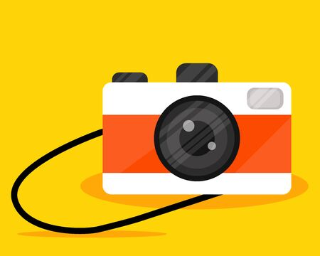 Simple cute elegant object, White and orange vintage camera. Flat style. Backdrop or background design
