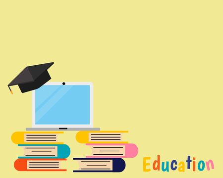Education concept: There are many books, graduate cap on the top of laptop for your design about exam, final and entrance.