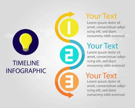 colorful of Infographic for business: 3 steps Timeline diagram, presentation vector design. World map background
