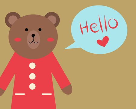 Cute bear is looking to you with happy smile and hello speech for your design Ilustrace