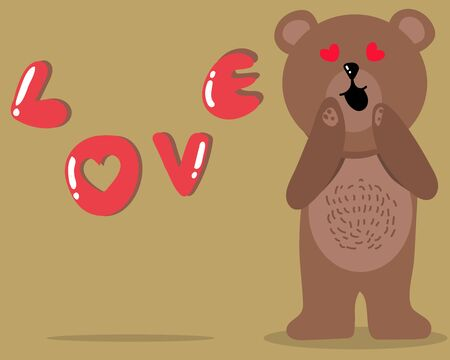 Kawaii shy bear is looking to you with happy smile and love speech for your design