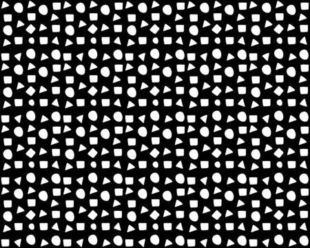 Fondo senza cuciture: ci sono molti cerchi, triangoli, quadrati su sfondo nero. Doodle stile vettoriale per il tuo design Vettoriali