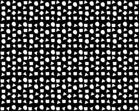 Seamless pattern background: There are many circles, triangles, squares on black background. Doodle vector style for your design Vetores