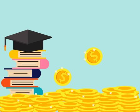 Education concept in cartoon vector style: stack of golden coins and book with graduation cap for your design