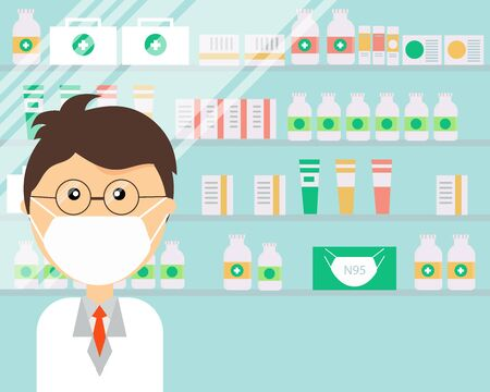 Man pharmacist wears mask in a pharmacy. Shelves with medicines background. Cartoon vector style for your design.