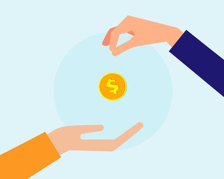 Business or financial concept: Two hands with golden coin that show buying or selling, cartoon vector style for your design Vector Illustration
