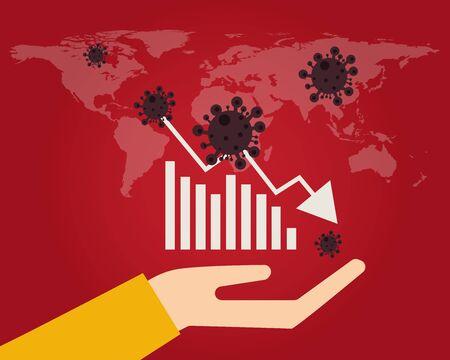 Wirtschaft nach unten mit Covid-19-Krisenkonzept: Es gibt Viren mit rotem Hintergrund und Weltkarte, Diagrammbalken und Abwärtspfeil für Ihr Design