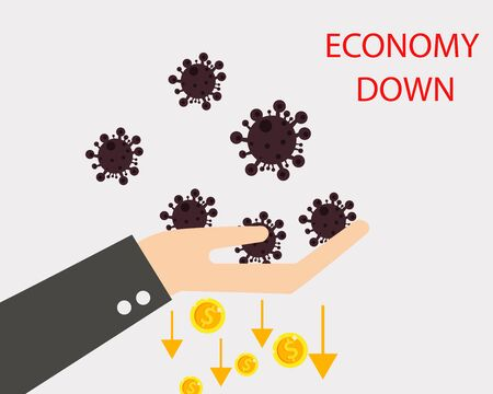 Economy down with Covid-19 crisis concept: there are virus with many golden coins and down arrow for your design