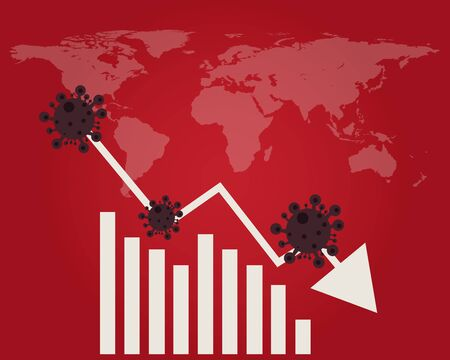 Economy down with Covid-19 crisis concept: there are virus with red background and world map, bars of chart and down arrow for your design Vettoriali