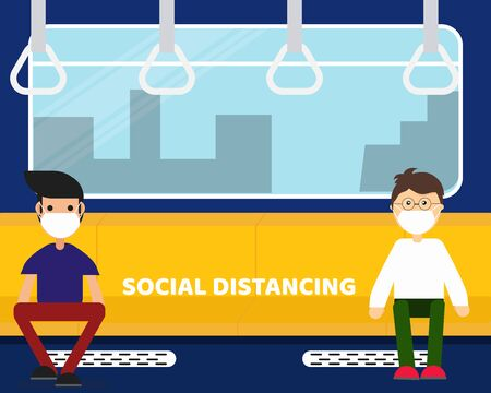 Social Distancing with COVID-19 crisis concept: There two men who in the subway. Cartoon vector style for your design.