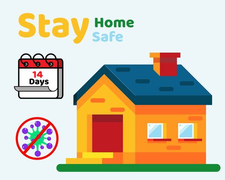 Social Distancing with COVID-19 crisis concept: There is text STAY HOME for Protect corona virus. Cartoon vector style for your design.  イラスト・ベクター素材