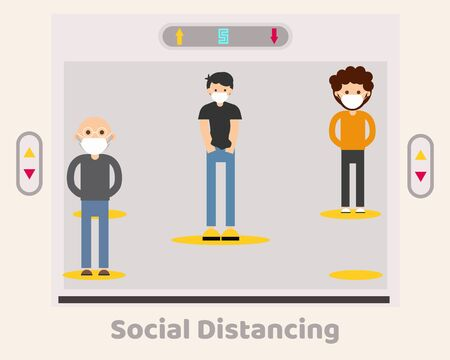 Social Distancing with COVID-19 crisis concept: There are people stand in lift (elevator), protect corona virus. Cartoon vector style for your design.