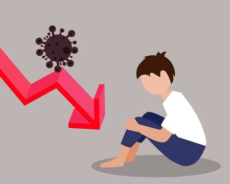 Economy down with Covid-19 crisis concept: There is a sad man who out of work. Virus with bars of chart and red down arrow for your design
