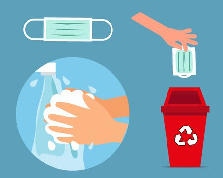 Always Wash your hand concept: Throw face mask into bin after you used it and wash your hands. Cartoon vector style for your design. Vector Illustration