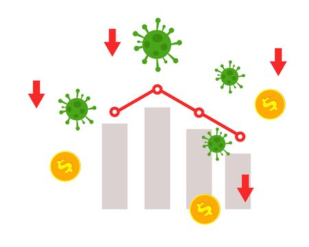 Economy down with Covid-19 crisis concept: there are virus, bars of chart and down arrow for your design
