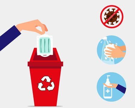 """Konzept """"Immer die Hände waschen"""": Werfen Sie die Gesichtsmaske nach Gebrauch in den Mülleimer und waschen Sie Ihre Hände. Cartoon-Vektor-Stil für Ihr Design."""