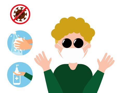 Don't touch on your face mask, virus is on it and always wash your hands. Cartoon vector style for your design.