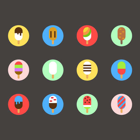 Set of colorful ice cream icons in flat style for your design Ilustração