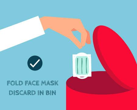 Covid-19 crisis concept: Throw face mask into bin after you used it. There bin and face mask in cartoon vector style for your design.