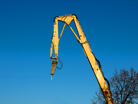 Excavator with hydraulic hammer 写真素材