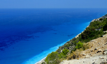 Landscape view of a large beach, lefkada Stock Photo