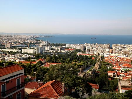 Thessaloniki, view of the port and downtown, Greece 版權商用圖片