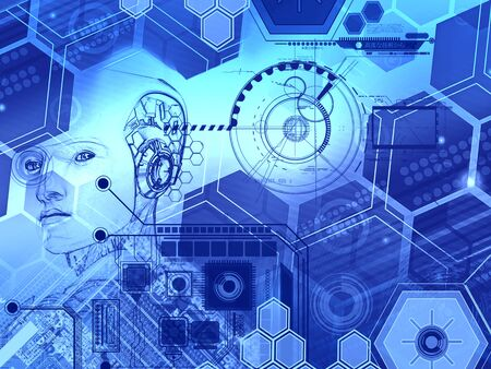 Abstract technology background with simple blue hexagonal elements and head of a robot