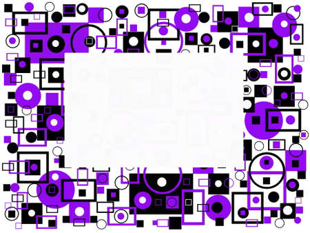 Decorative ornament of purple and black geometric shapes with a text input field