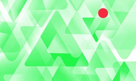 Green triangles and red circle pattern design on a white background