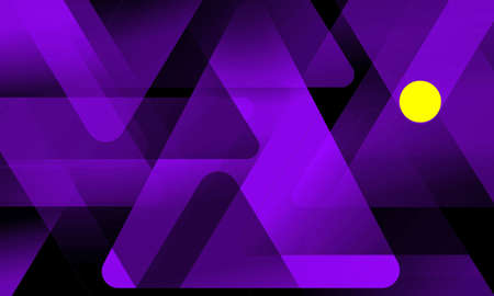 Purple triangles and yellow circle pattern design on a black background