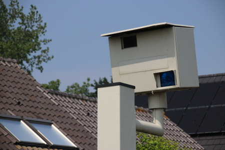 Radar speed camera which will make photo when speed is too high in the Netherlands Banco de Imagens