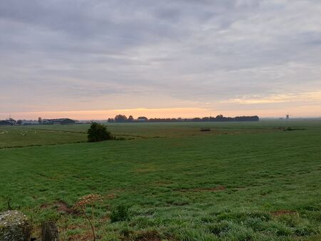 Meadows and farms of the Zuidplaspolder as part of lowest area of west Netherlands
