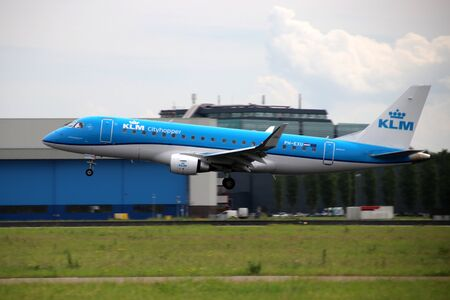 PH-EXU KLM Cityhopper Embraer ERJ-175STD Aircraft at the Aalsmeerbaan 36R-18L at Amsterdam Schiphol airport in the Netherlands