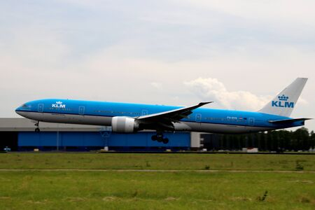 PH-BVK KLM Royal Dutch Airlines Boeing 777-306 Aircraft at the  Aalsmeerbaan 36R-18L at Amsterdam Schiphol airport in the Netherlands